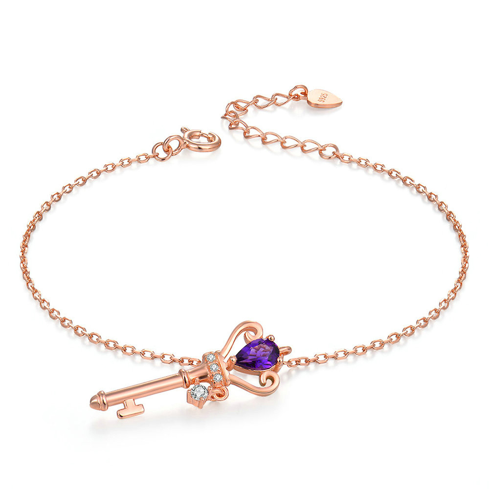 Purple Amethyst Crown Key Charm Bracelet