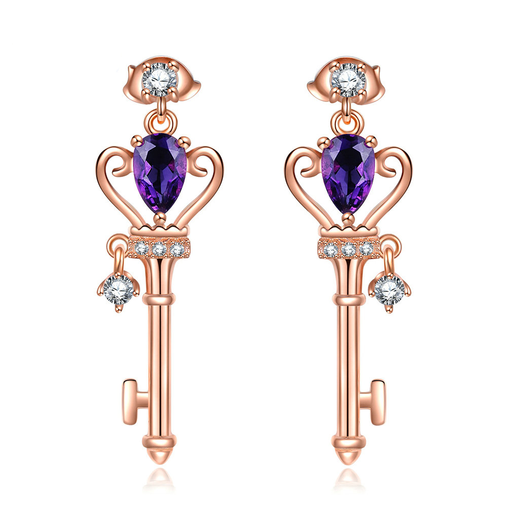 Amethyst Teardop Crown Key Earrings