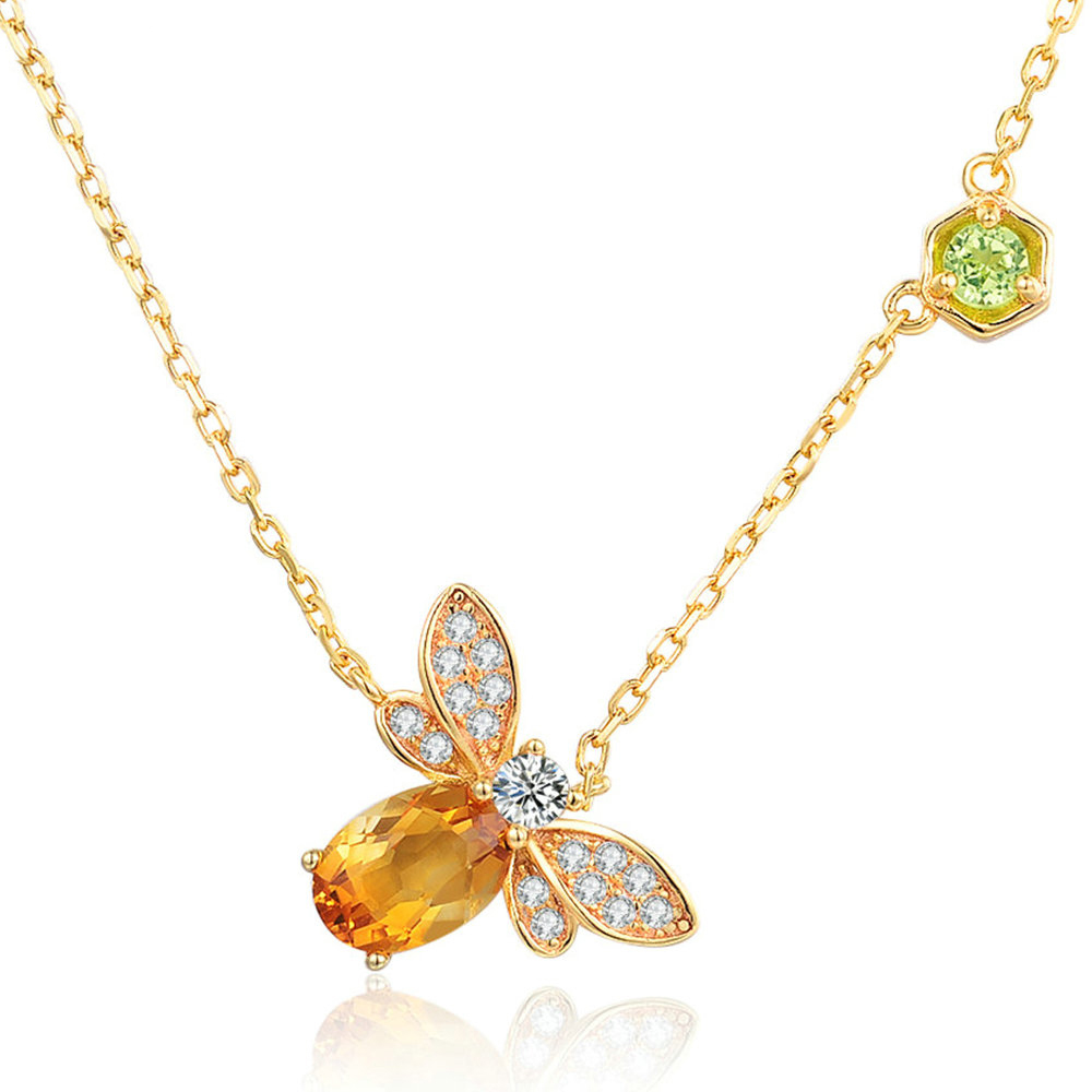 Citrine Bee Pendant Necklace