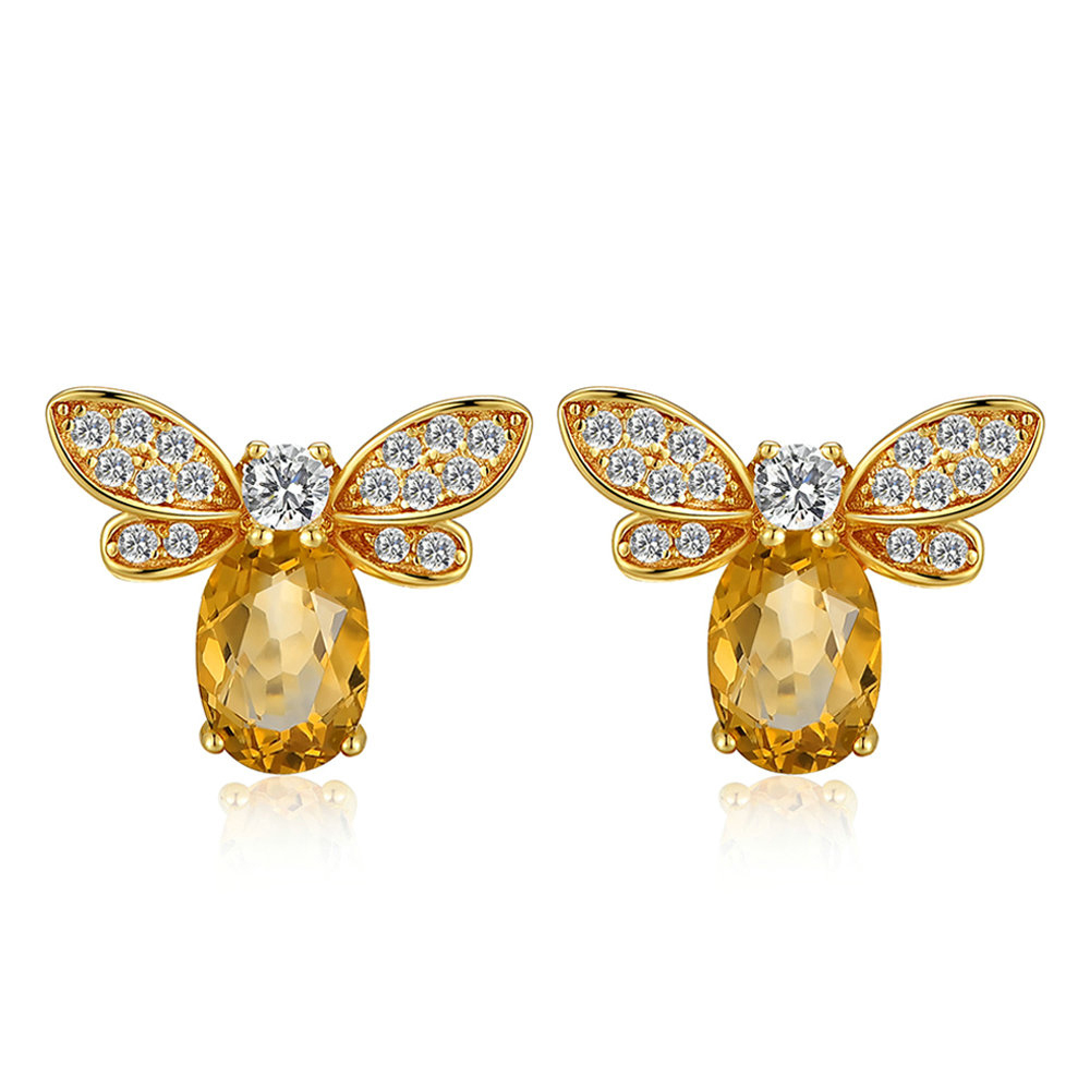 Citrine Bee Stud Earrings