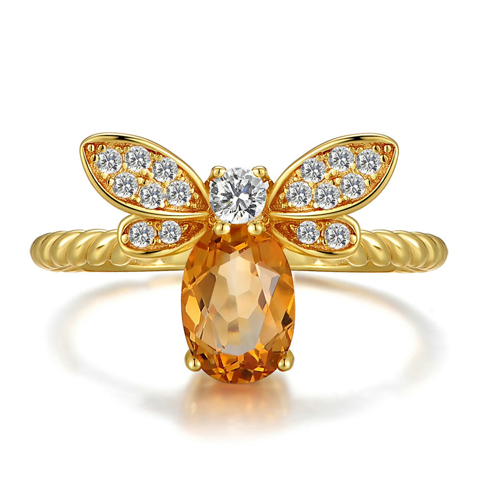Citrine Bee Woven Ring