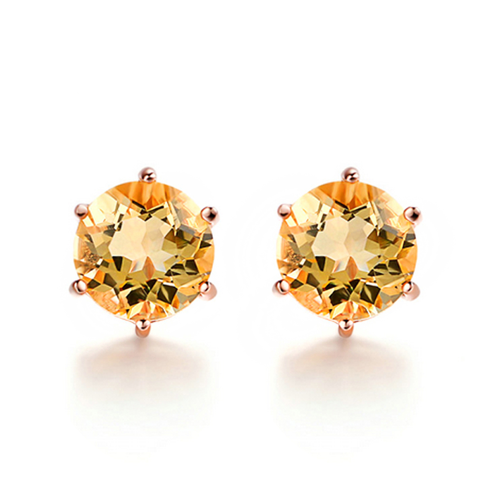 Yellow Citrine Sun Stud Earrings