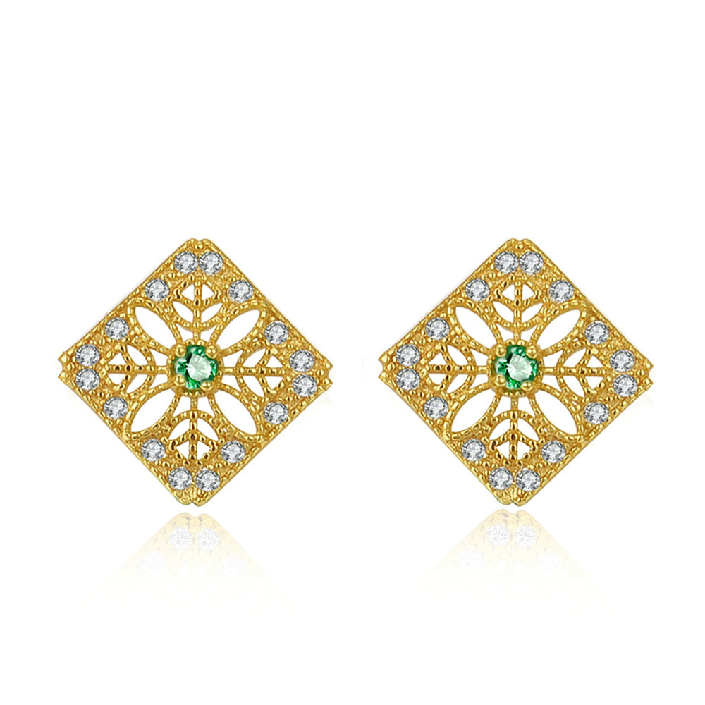 Green Emerald Flower Stud Earrings