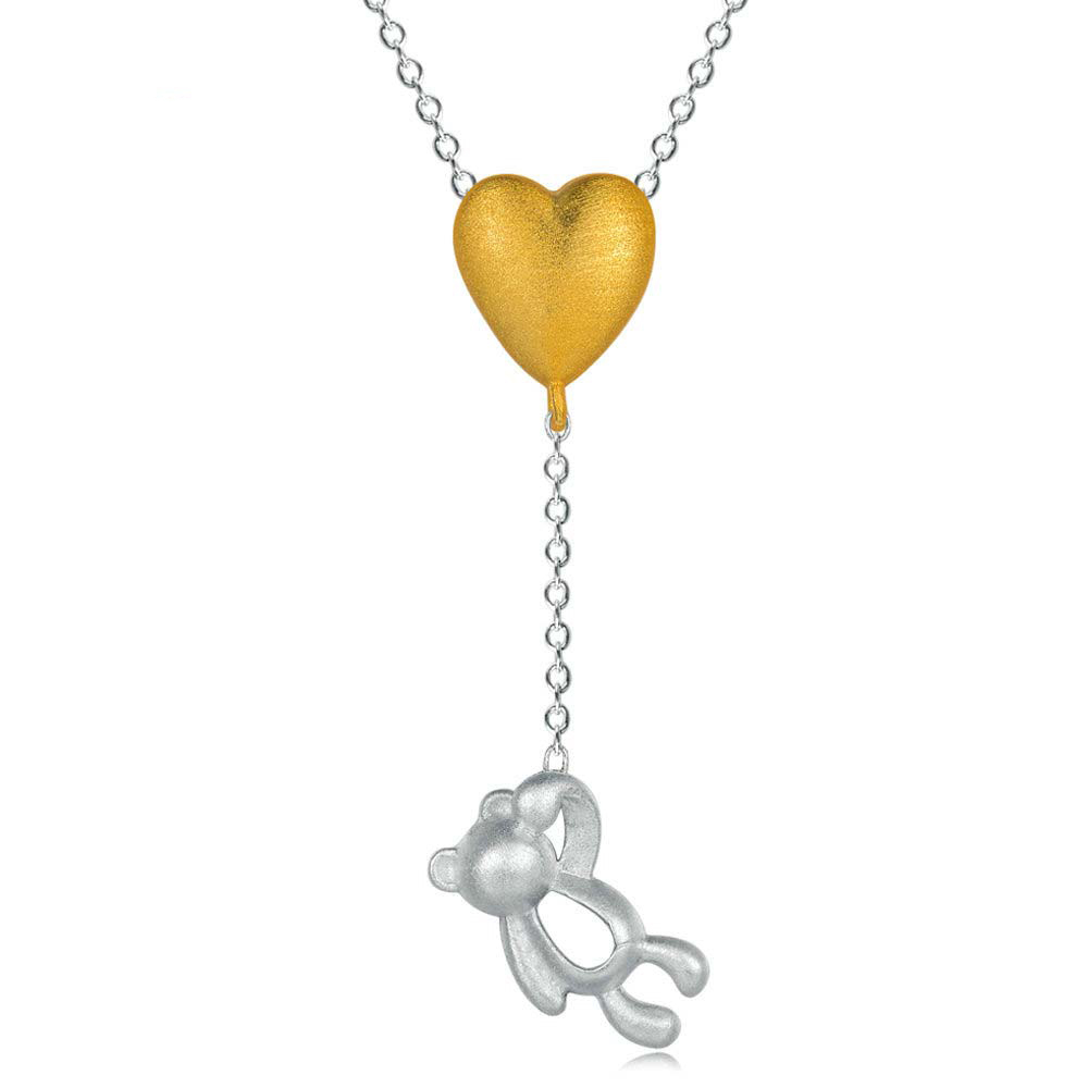 Little Bear Heart Pendant Necklace
