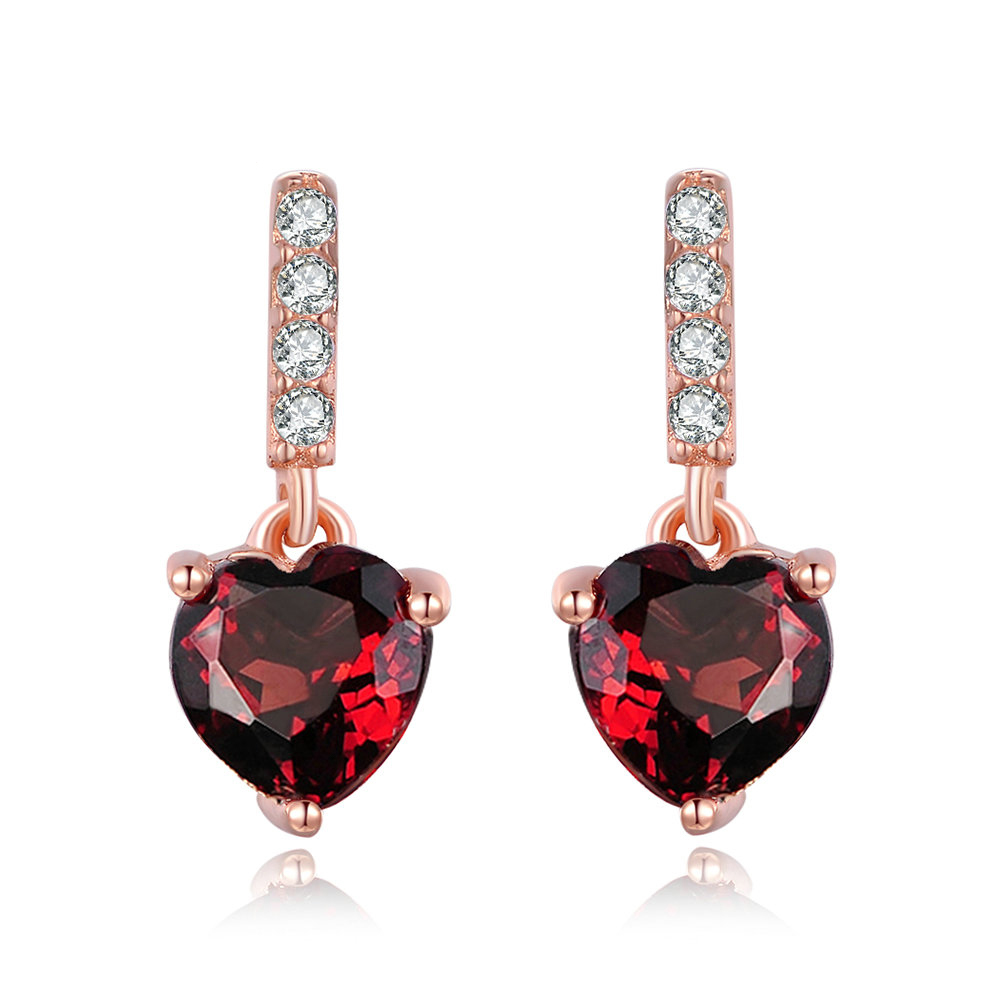 Red Garnet Heart Earrings