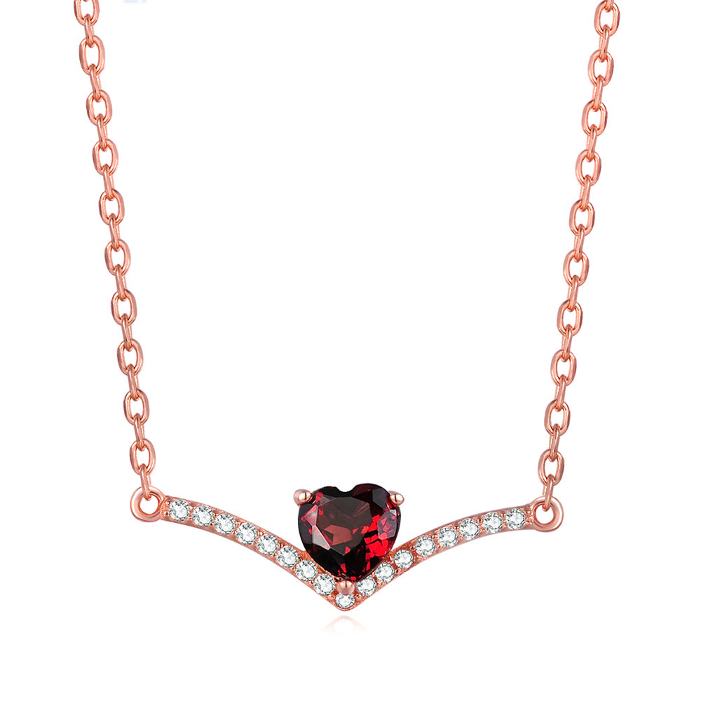 Red Garnet Heart Pendant Necklace