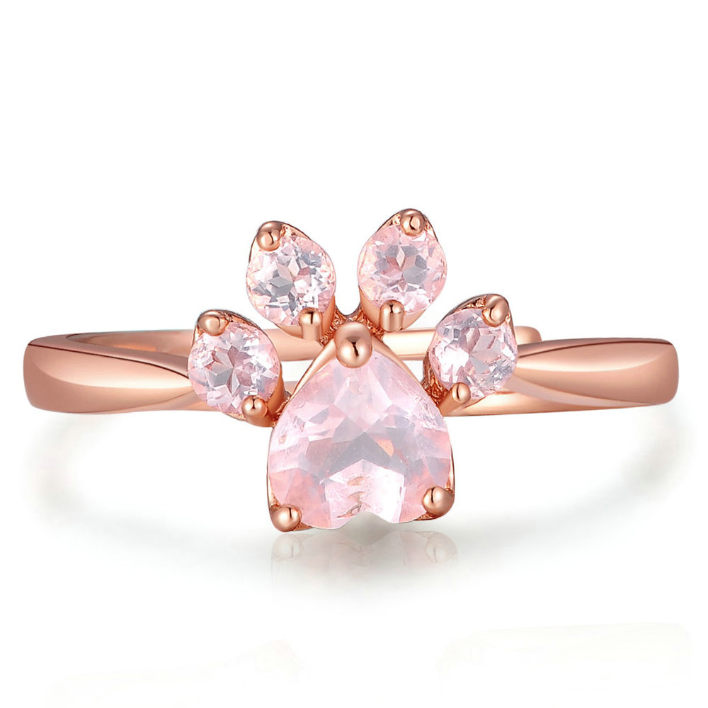 Rose Quartz Dog Cat Paw Ring