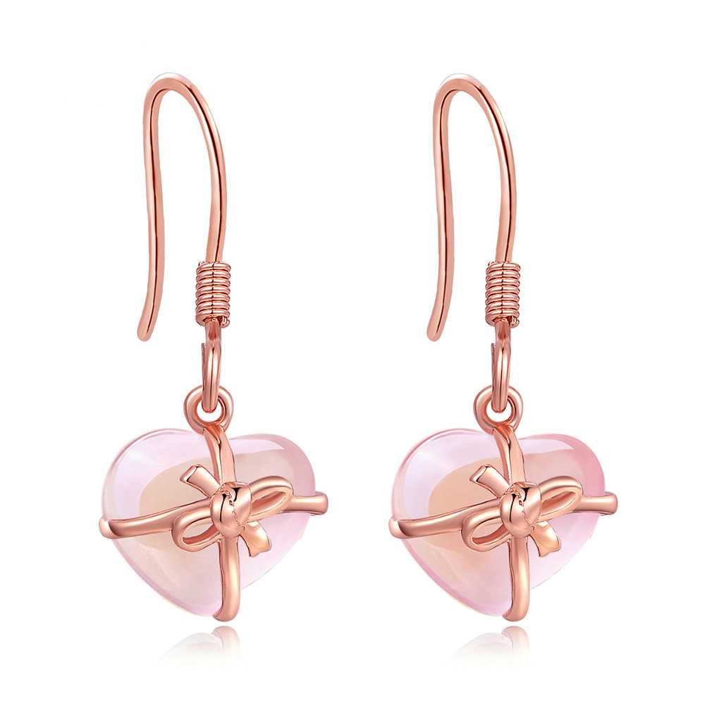 Rose Quartz Heart Earrings