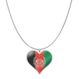 Love Afghanistan Country Flag Heart Silver Necklace