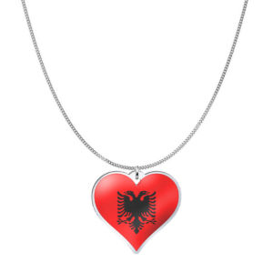 Love Albania Country Flag Heart Silver Necklace