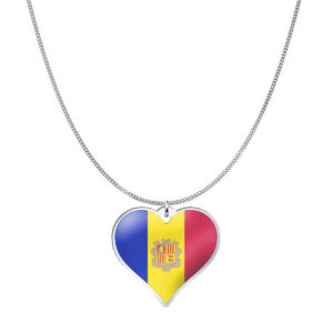 Love Andorra Country Flag Heart Silver Necklace
