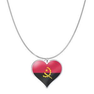 Love Angola Country Flag Heart Silver Necklace