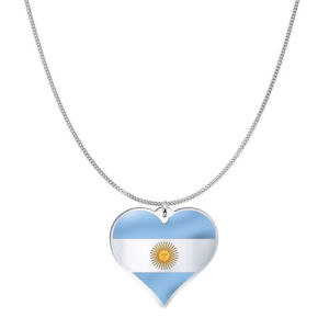 Love Argentina Country Flag Heart Silver Necklace