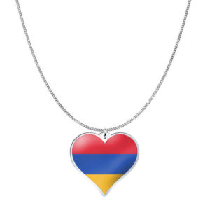 Love Armenia Country Flag Heart Silver Necklace