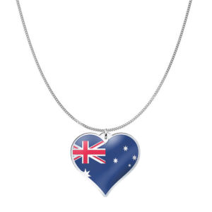 Love Australia Country Flag Heart Silver Necklace