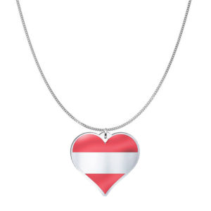 Love Austria Country Flag Heart Silver Necklace