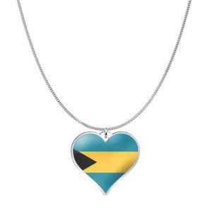 Love Bahamas Country Flag Heart Silver Necklace