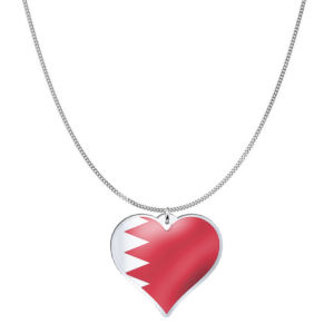Love Bahrain Country Flag Heart Silver Necklace