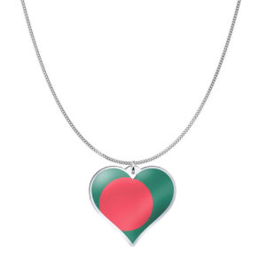 Love Bangladesh Country Flag Heart Silver Necklace