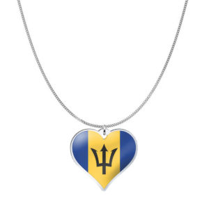 Love Barbados Country Flag Heart Silver Necklace