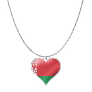 Love Belarus Country Flag Heart Silver Necklace