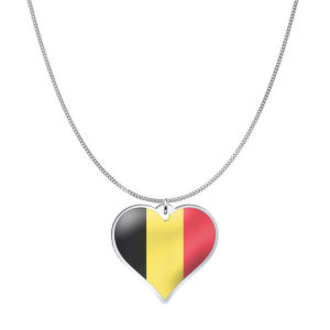 Love Belgium Country Flag Heart Silver Necklace