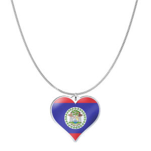 Love Belize Country Flag Heart Silver Necklace
